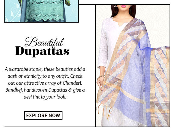Chanderi, Bandhej, handwoven Dupattas & more. Buy Now!