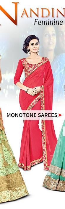 Monotone Sarees. Shop!