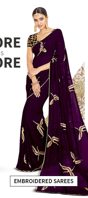 Sarees with embroidery. Shop!