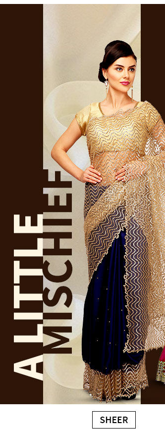 Sheer fabrics like Net and Chiffon in ethnic ensembles. Shop!