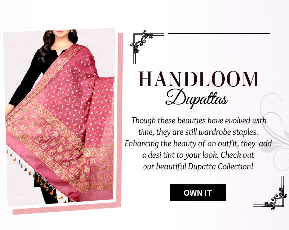 Chanderi, Jute, Art Silk Dupattas & more. Buy Now!