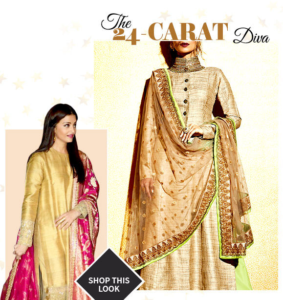 Choose from our beautiful collection of Aishwarya Rai Bachchan-inspired Khadi Suits. Buy Now!