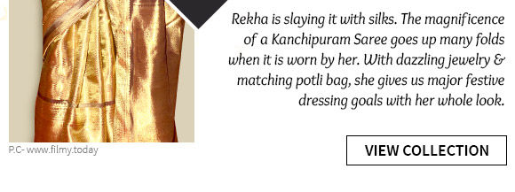Select from our wide array of Rekha-inspired Kanchipuram Sarees. Buy Now!
