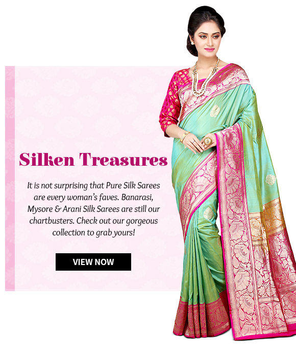 Choose from our wide range of Mysore, Banarasi, Arani Silk Sarees. Buy Now!