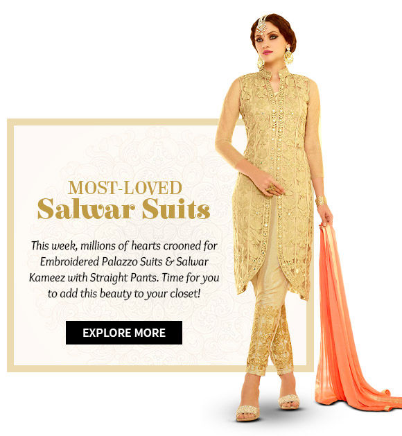 Salwar Kameez with Straight Pants, Embroidered Palazzo, Net Abaya Style Suits & more. Buy Now!
