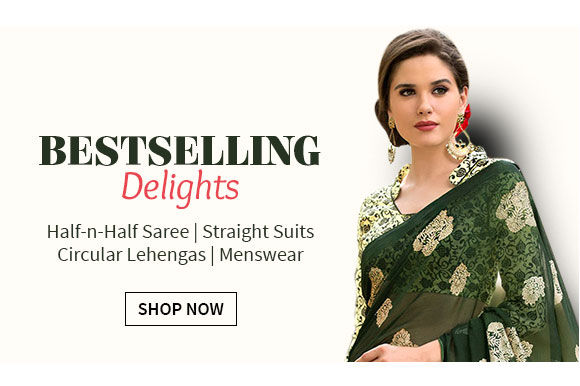 Bollywood inspired Styles of Kalidar Suits, Half half Sarees, Zari Lehengas & more. Shop!