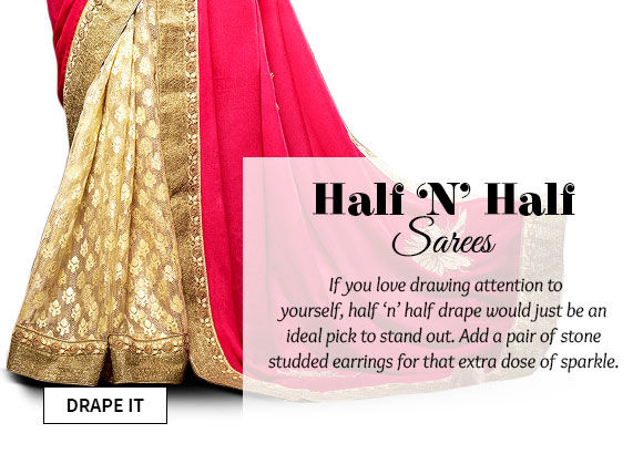 Choose from our wide range of Half 'N' Half Sarees. Buy Now!
