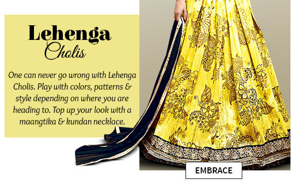 A myriad of Lehenga Cholis in striking hues & designs. Buy Now!