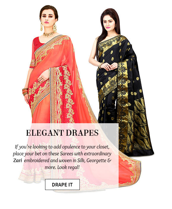 Choose from our beautiful range of Sarees embellished with Zari Work. Buy Now!