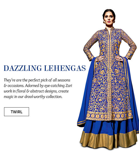 Choose from our beautiful array of Lehenga Cholis with Zari work. Buy Now!