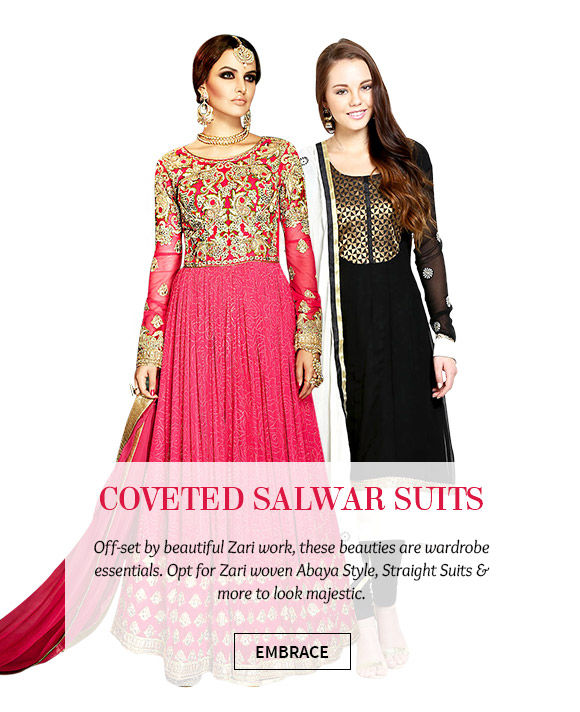 Woven Art Silk Straight Suits, Embroidered Abaya Style Suits & more in beautiful hues. Buy Now!