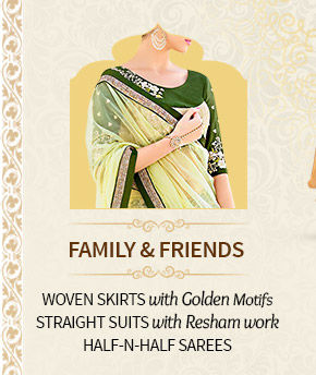 Mehendi & Sangeet Closet for Family & Friens: Woven Skirts, Straight Suits & more . Shop Now!