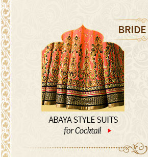 Mehendi & Sangeet Closet of Banarasis & Abaya style Suits for Bride. Shop Now!
