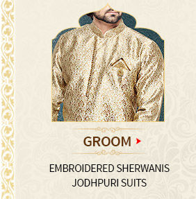 Groom's range for wedding: Embroidered Sherwanis, Jodhpuri Suits & more. Shop Now!