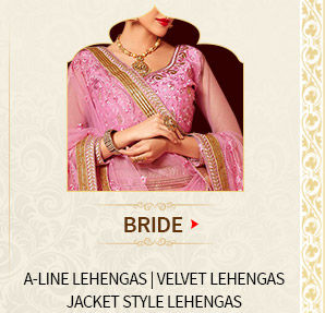 Bridal wear at wedding: A-line Lehengas, Kanchipuram Silks, Banarasi Sarees. Shop Now!