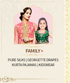Family Closet for Wedding: Pure Silks/ Georgette Drapes/ Kurta Pajamas/ Kidswear. Shop Now