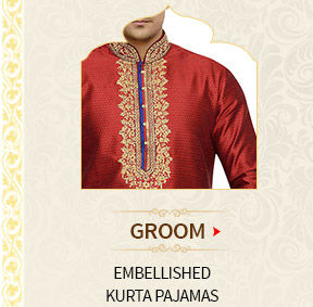 Groom's Collection for reception: Embellished Kurta Pajamas. Shop Now!