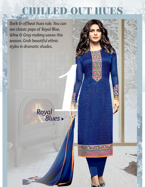 Choose from our fascinating range of Ensembles in Royal Blue. Buy Now!