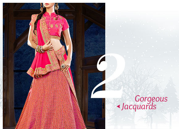 Stunning range of Sarees, Salwar Suits & more in Jacquard fabric. Buy Now!