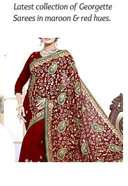New Arrivals in Georgette Sarees in maroon & red hues. Buy Now!