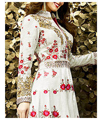 New Arrivals in Art Silk Lehengas with Embroidered Kameez. Buy Now!