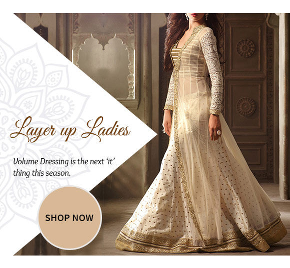 A myriad of Abaya Style Suits, Jacket style Lehenga Cholis & more. Buy Now!