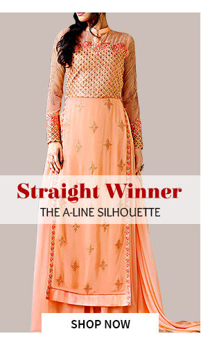 The A-line Silhouette in Salwar Kameez, Lehengas, Lawn Suits, Long Kurtas & more. Shop!