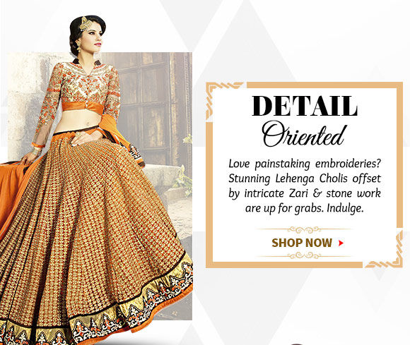 Choose from our wide range of Lehenga Cholis splashed with Zari & stone work. Buy Now!
