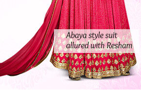 Abaya style suit allured with Resham. Shop Now!