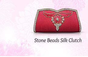 Stone Beads Silk Clutch. Shop Now!