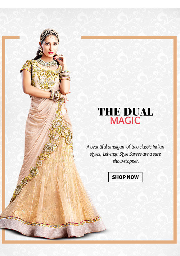 Choose from our beautiful range of Lehenga Style Sarees. Buy Now!