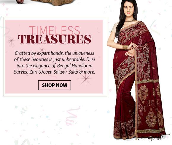 Explore our vast array of gorgeous Banarasi Sarees, Zari Woven Salwar Suits, Kundan Necklace sets & more. Buy Now!