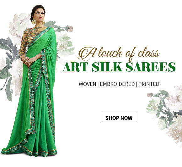 An affordable range of Art Silk Sarees printed or woven for all occasions. Shop Now!