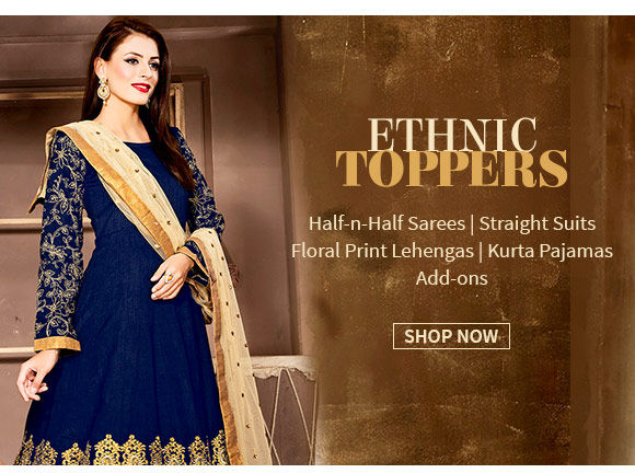 Hot trends: Half-n-Half Sarees, Straight Suits, Floral Lehengas, Add-ons & more. Shop!