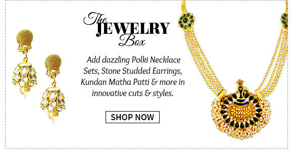 Latest Collection of Necklace Sets, Stone Studded Earrings, Matha Patti & more. Buy Now!