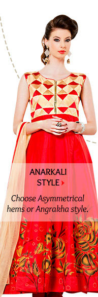Anarkalis with Asymmetrical hems or Angrakha style. Order now!