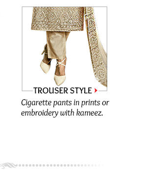 Trouser style Suits in prints or embroidery with long, short or mid length kameez. Order now!