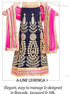 A-line Lehenga with versatile choli lengths in Brocade, Jacquard & Silk. Order now!