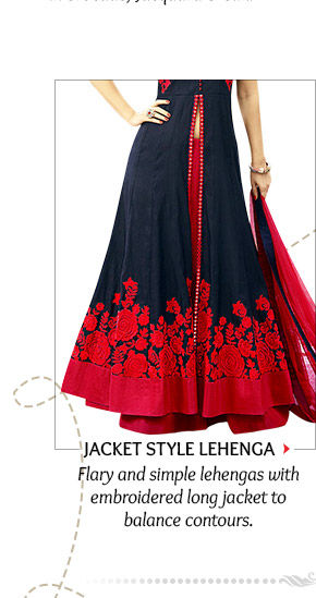 Jacket style Lehenga with a long jacket covered in Zardozi work for Apple shaped body types. Shop!