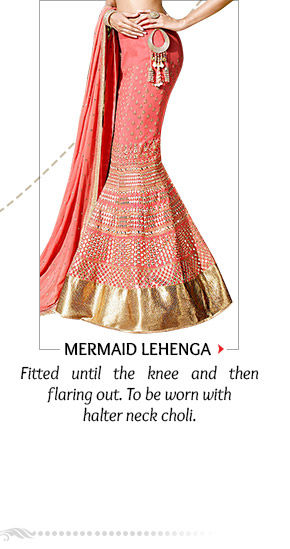 Mermaid Lehenga with short choli, in Brocade, Jacquard & more for hourglass figure. Order now!