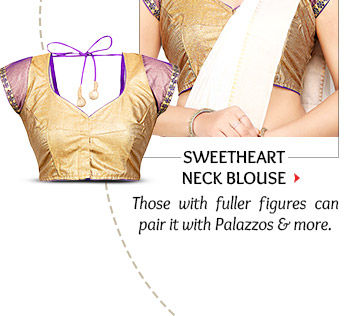 Sweetheart Neck Blouse to pair with Palazzos, Pleated side drapes & more. Shop Now!
