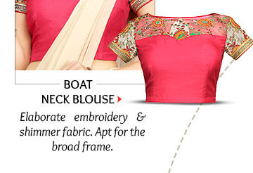 Boat Neck Blouse in elaborate embroidery & shimmer fabric. Shop Now!