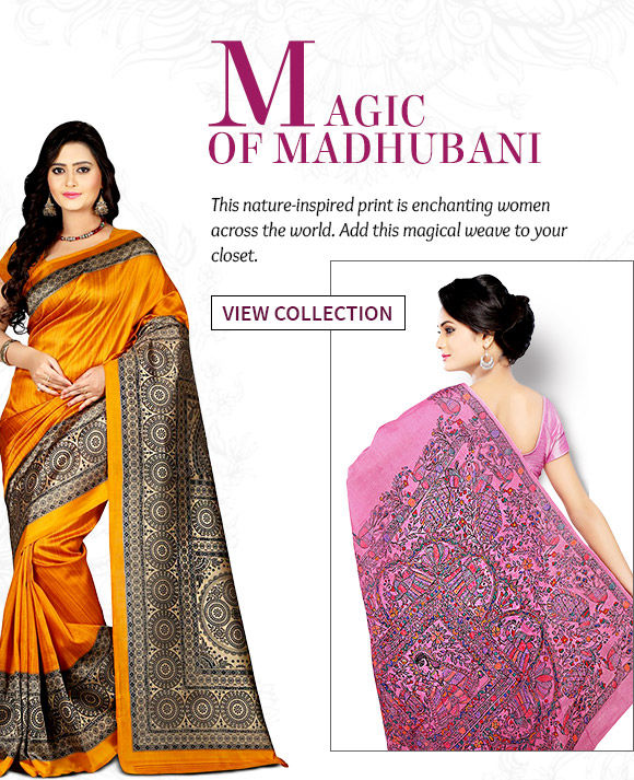 Madhubani Printed, Jamdani, Woven Art Silk, Printed Georgette Sarees & more. Buy Now!
