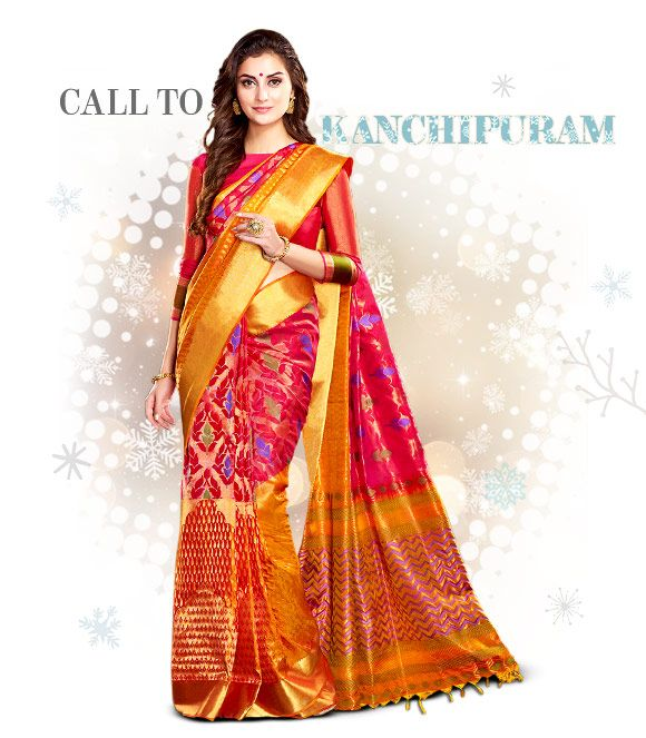 Kanchipuram silk sarees. Shop!