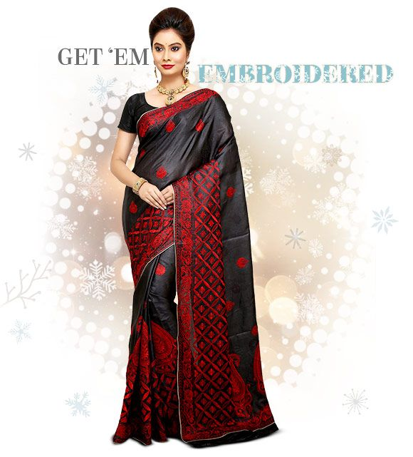 Pure Silk Sarees with embroidery. Shop!