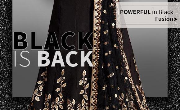 Black Indo Westerns like skirts, kurtis and more. Shop!