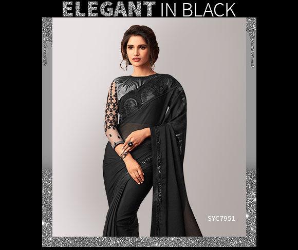 Black Sarees in silk, georgette and creper. Shop!