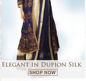 Ethnic wear in Dupion Silk for parties & ceremonies. Shop!