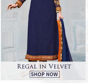 Attires in velevet for a regal appeal. Shop!