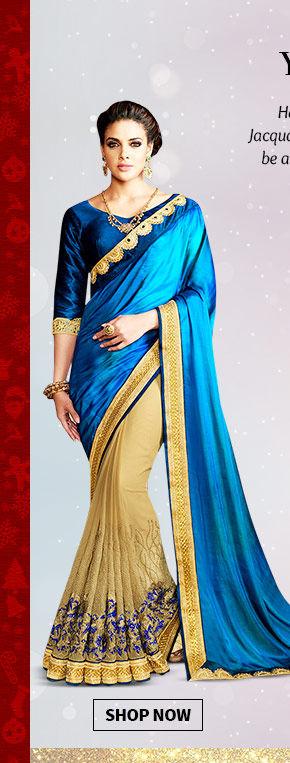 Choose from our beautiful range of Half 'N' Half, Art Silk, Jacquard & Pastel hued Sarees. Buy Now!